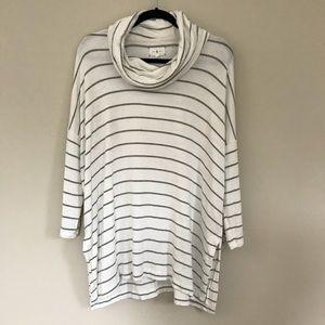 Lou & Grey Striped Cowl Neck Tunic Sweater L B4